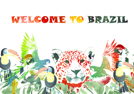 Watercolor banner. Tropical background. Colorful poster Welcome to Brazil. Jaguar, toucans, parrots, chameleons, palms. Stock Photo
