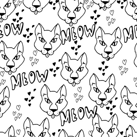 meow: Hand drawn seamless pattern. Cute cats, hearts, doodles. Monochrome illustration. Sketches. Illustration