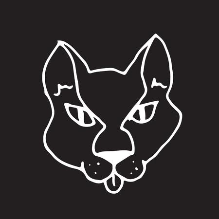 Hand drawn vector illustration. Head  cat. Sketch. Illustration