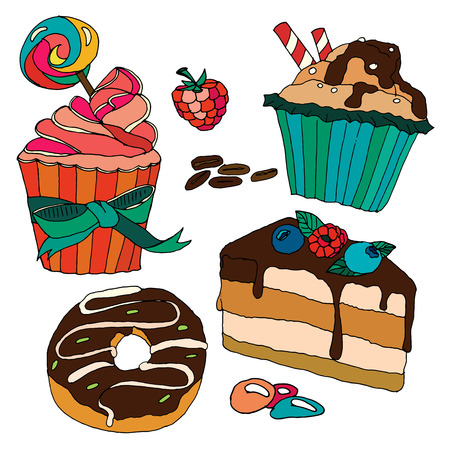 Vector set of pastry. Desserts, muffins, cupcakes, candies, cheesecake, chocolate, coffee. Can use for birthday party decoration,  menu, kitchens decor.
