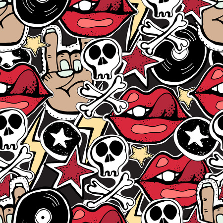 Vector Seamles Pattern Crazy Punk Rock Abstract Background