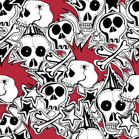 Vector seamles pattern. Crazy punk rock abstract background. Skulls, pins, guitars, rock symbols, disk, stars,lips. Can use for  party decoration, wallpaper, gift wrapp, prints, home decor.