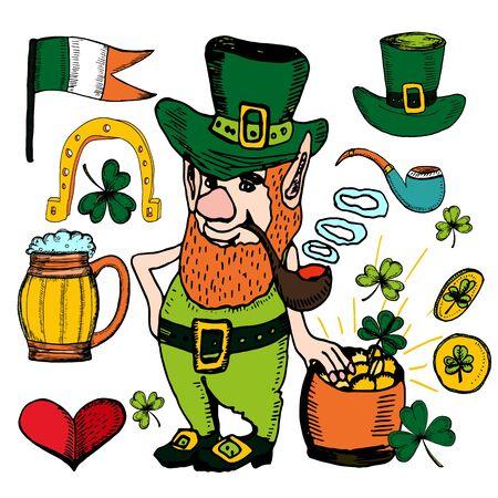 St Patricks Day  hand drawn set. Vector illustration  with shamrock, clover, Irish flag, golden coins, leprechaun, irish beer, green ribbon. Ireland symbols. Irish decor for your design. Lettering.