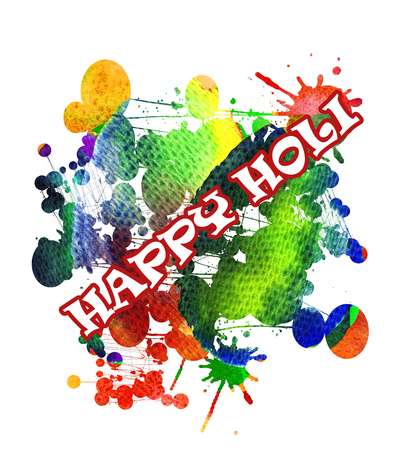 religion ritual: Happy Holi greeting card. Colorful watercolor background.