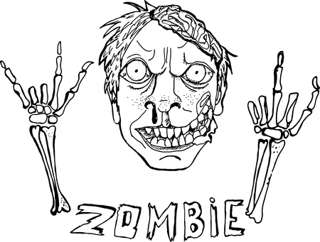 Cute Vector Illustration. Zombie. Hand Drawn Cartoon Style. Sketch. Black And White