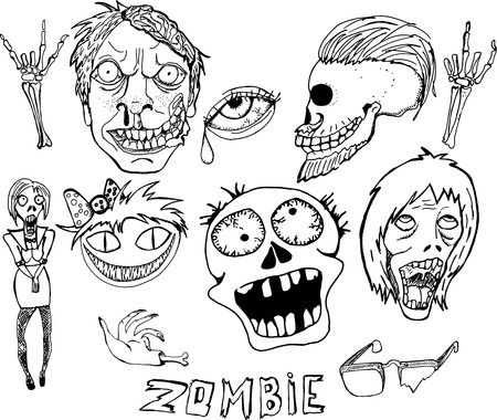 Cute Vector Illustration. Zombie Set. Hand Drawn Cartoon Style. Sketch. Black And White