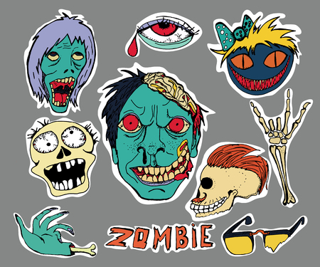 Cute embroidery patches and stickers collection. Zombie. Hand drawn vector sketches.  Vector skulls.
