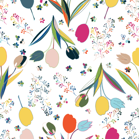 Vector Floral Seamless Pattern. Hand Drawn Fashion Illustration. Tulips.  For Textile, Fabric, Manufacturing, Cards, Wallpaper, Wrapping.
