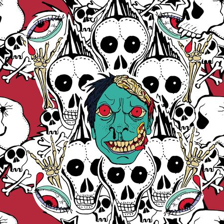 crazy hair: Vector seamles pattern. Crazy zombie hand drawn background. Skulls, zombie,  stars,lips. Can use for  party decoration, wallpaper, gift wrapp, prints, home decor.