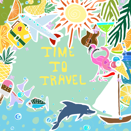 sun cream: Tropical Travelling Objects in Circle Collage. Travel and Recreation Time Concept. Hand Drawn Vector illustration. Hand Written Words Time To Travel.