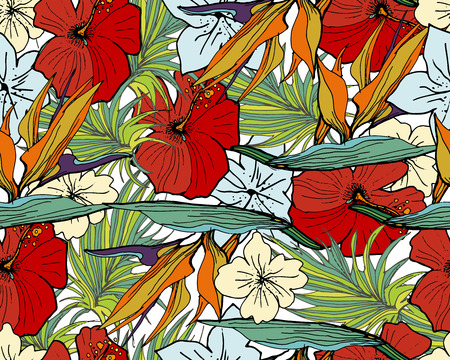 Tropical Pattern. Seamless Background With Palm  Leaves,  And Tropical Flowers. For Textile Or Book Covers, Manufacturing, Wallpapers, Print, Gift Wrap And Scrapbooking