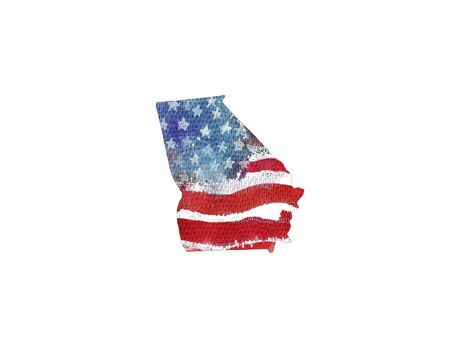 great: United States Of America. Watercolor texture of American flag. Georgia.