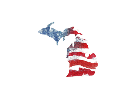 great: United States Of America. Watercolor texture of American flag. Michigan.