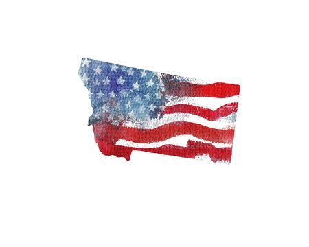 United States Of America. Watercolor texture of American flag. Montana.