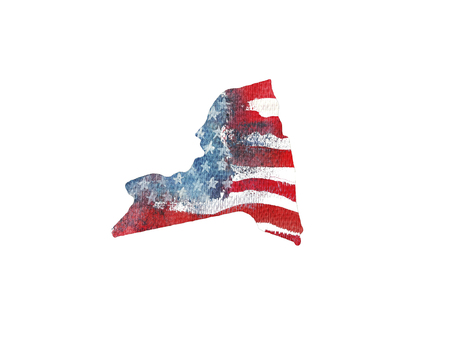 great: United States Of America. Watercolor texture of American flag. New York.