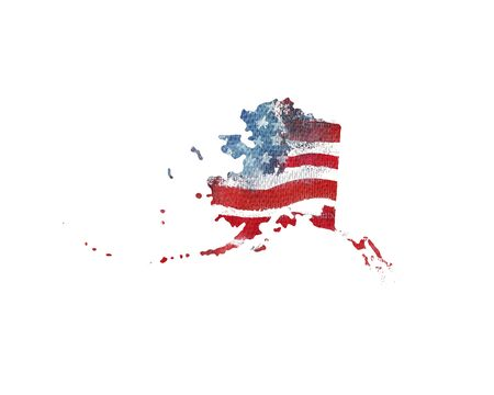 United States Of America. Watercolor texture of American flag. Alaska.