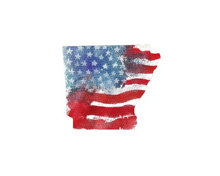 미국. 미국 국기의 수채화 텍스처입니다. 알칸사.
