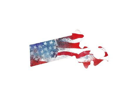 United States Of America. Watercolor texture of American flag. Massachusetts.