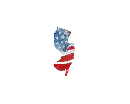 United States Of America. Watercolor texture of American flag. New Jersey. Stock Photo