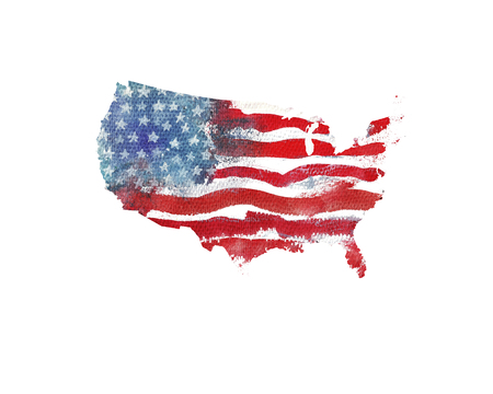 United States Of America. Watercolor texture of American flag. USA map.