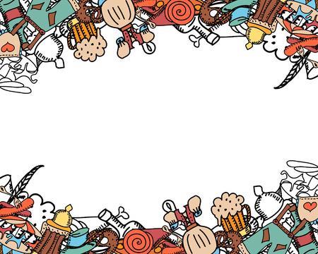 Oktoberfest Hintergrund. Nettes nahtloses Muster. Hand gezeichnet Illustration. Standard-Bild - 85116719