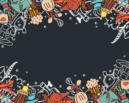 pretzel: Oktoberfest background. Cute seamless pattern. Hand drawn illustration.