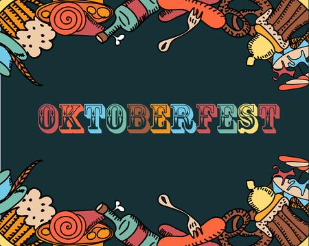 Oktoberfest Hintergrund Hand gezeichnet Illustration. Standard-Bild - 85184792
