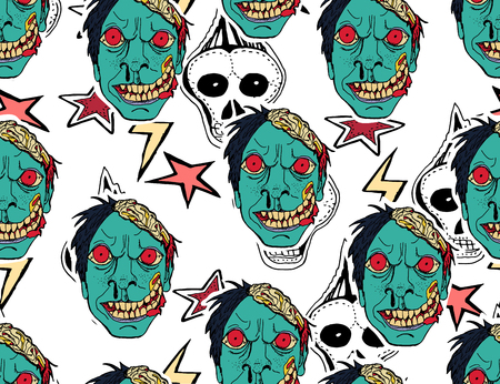 Halloween background. Scary monsters, bones, skulls and zombie.  Cute seamless pattern. Hand drawn illustration. Illustration