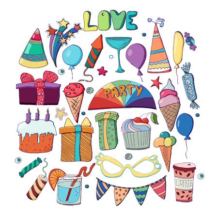 Cute holiday illustration. Vector hand drawn set. Cakes, cupcakes, balloons, fireworks, cocktails, gift box, ice cream, candies, lollipops. Decorative elements for party. Pencils drawing.