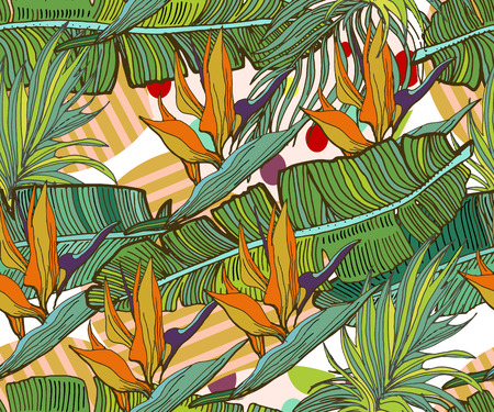 Tropical seamless background. Hand drawn vector cute pattern with banana leaves, exotic flowers, tropical plants,  geometric elements. Ilustrace