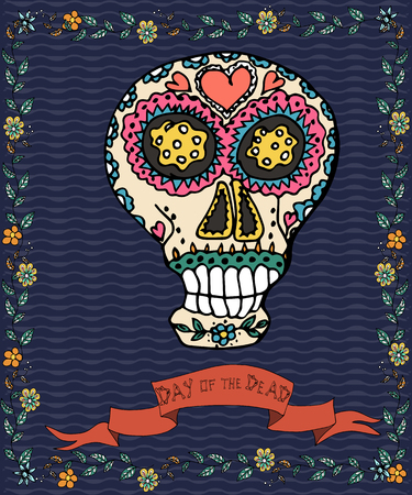 Mexican day of the dead poster. Hand drawn vector illustration with skull, flowers and ethnic elements.