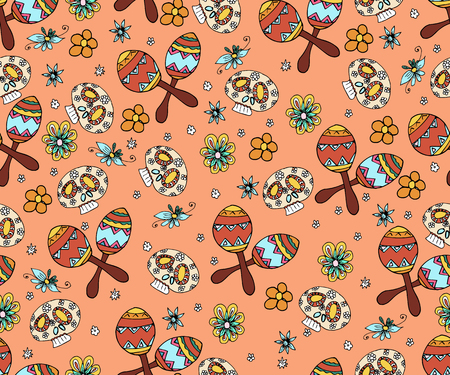 Seamless pattern with skull, flowers and ethnic elemens.  Mexican day of the dead. Illustration