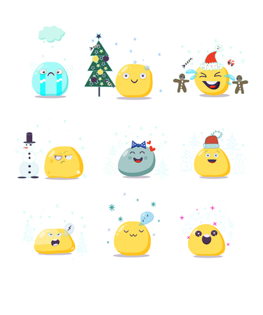 Vektorsatz nette Weihnachtsemoji Charaktere. Flache Art. Standard-Bild - 87907529