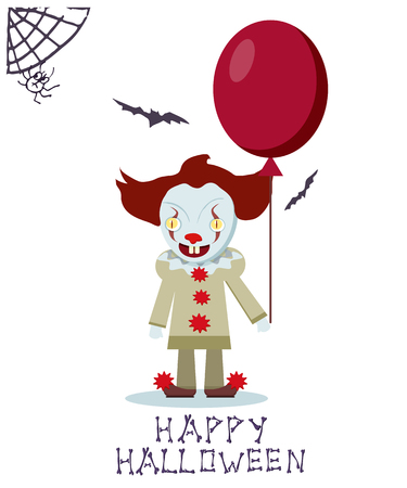 Angry evil clown with red balloon. Vector Halloween card. Illustration