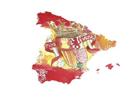 Watercolor texture of Spain flag . Spainish  map.