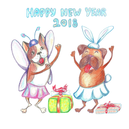 Watercolor Funny Dancing Pug And French Bulldog In Carnival.. Stock ...