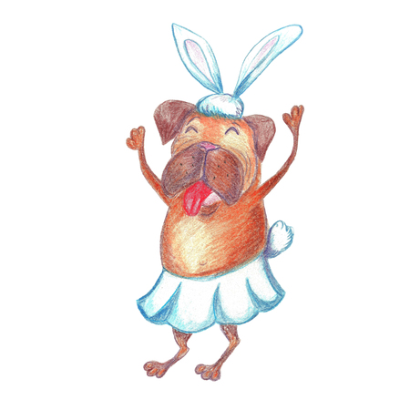Watercolor Funny Dancing Pug In Carnival Costume. Happy New Year Greeting Card. The Dog Symbol 2018.