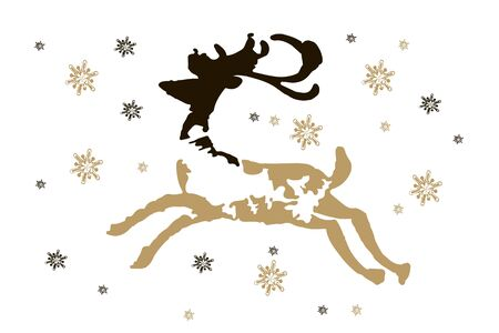 Christmas and Happy New Year greeting card with golden snowflakes and deers for your design. Trendy vector illustration. Illustration