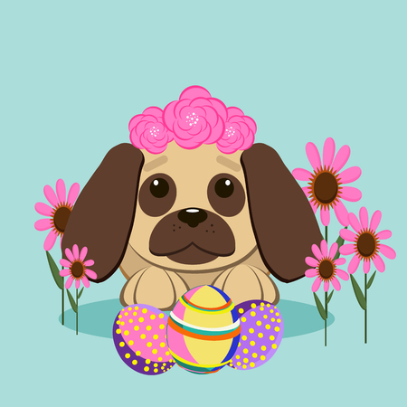 Cute puppy on a spring meadow among flowers and Easter eggs. Happy Easter greeting card. Vector illustration. Flat style.