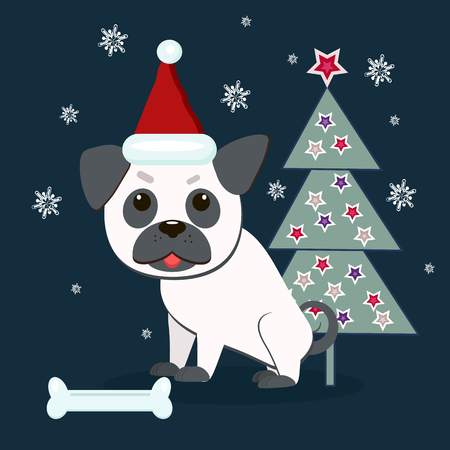 Cute pug near Christmas tree in Santa hat. Vector illustration. Flat style.