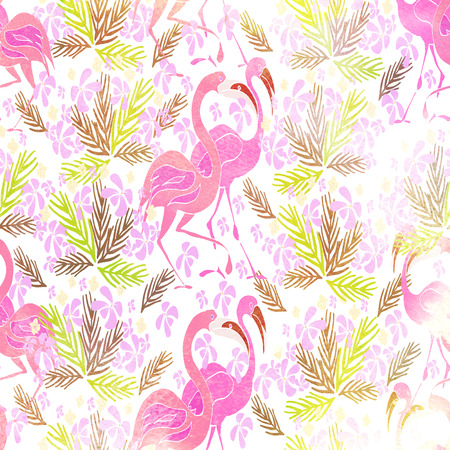 Watercolor textured seamless pattern. Tropical background. Humming bird. Hand painted illustration.