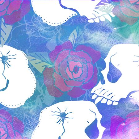 Watercolor textured seamless pattern. Skulls, bones, punks. Grunge. Hand painted illustration.