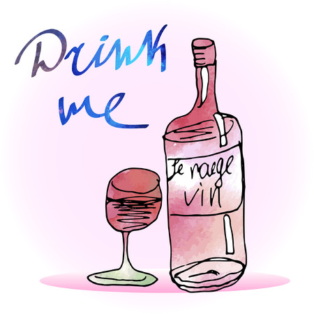 Vector bottle of red wine with a glass. Watercolor texture. Text Drink me. Ink sketch. Illustration