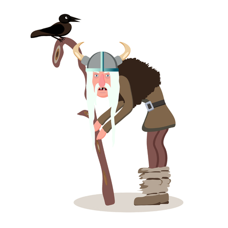 Viking cartoon character. The old gray haired man leaning on his staff. Witch. Black Raven. Vector illustration. Flat style.