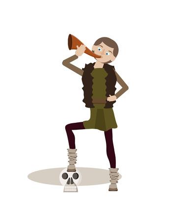 Personaggio dei cartoni animati di Viking con corno Archivio Fotografico - 94525161