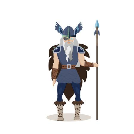 Viking cartoon character. Scandinavian god Odin ( Wotan)  with a spear. Vector illustration. Flat style.