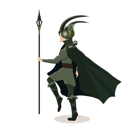 Viking cartoon character. Scandinavian god Loki . Vector illustration. Flat style.
