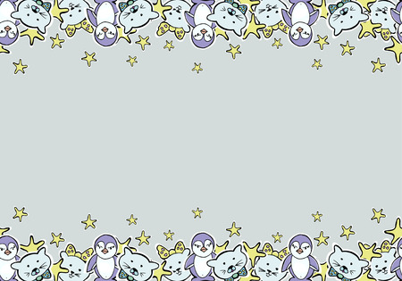 Hand Drawn Vector Cute Kittens, penquins, stars. Seamless borders. For textile, wallpaper, covers, surface, print, gift wrap, scrapbooking, decoupage. Illustration