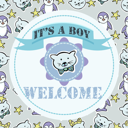 Baby shower and welcome greeting card. Text It's a Boy, Welcome. Little kittens, penguins, stars. Stickers.