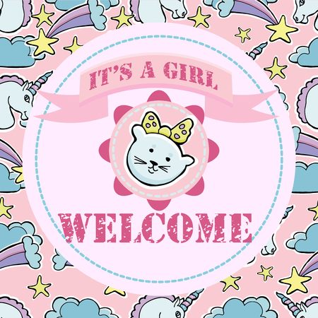 Baby shower and welcome greeting card with Text Its a Girl, Welcome vector illustration Ilustração